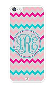 MMZ DIY PHONE CASEiZERCASE Monogram Personalized Shades of Pink and Turquoise Chevron Pattern ipod touch 4 Case - Fits ipod touch 4 T-Mobile, AT&T, Sprint, Verizon and International (White)