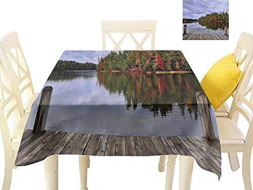 Square Tablecloth Lake Wooden Dock and Island Ablaze in Fall Splendor Ludington State Park in Michigan USA W70 xL70 Suitable for Buffet Table, Parties, Wedding