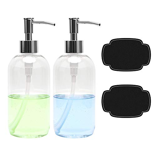 ULG Soap Dispensers Bottles 16oz Countertop Lotion Clear with Stainless Steel Pump Empty BPA Free Liquid Hand Soap…