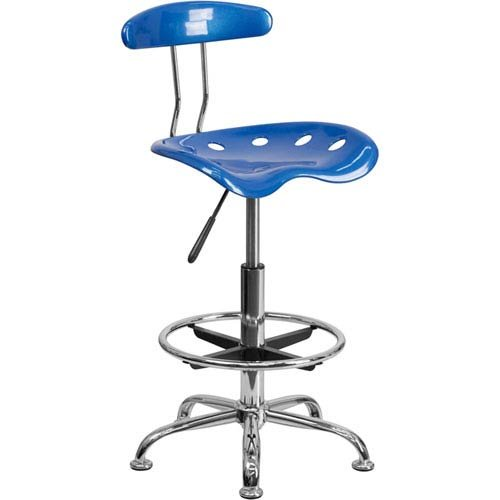 Parkside Vibrant Bright Blue and Chrome Drafting Stool with Tractor Seat