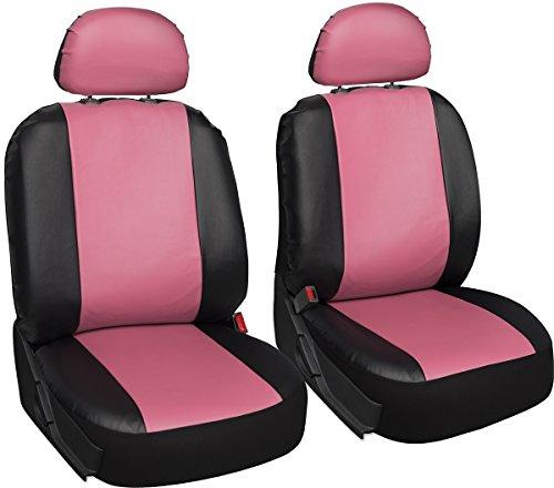 Oxgord Leatherette Bucket Seat Cover Set for CarTruckVanSUV, Airbag , Pink Black
