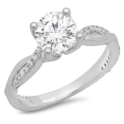 (Dazzlingrock Collection 14K Moissanite & White Diamond Solitaire with Accents Bridal Engagement Ring, White Gold, Size 8)