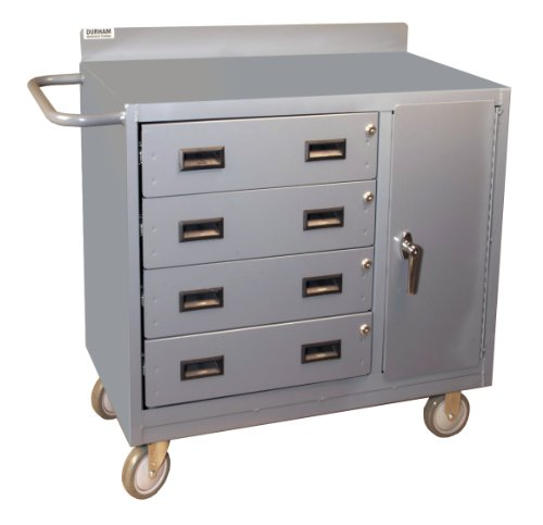 Durham 16 Gauge Welded Steel Mobile Bench Cabinet with 4 Drawers and Lockable Storage Compartment, 2211-95, 1 Shelf (Picking Stock Trucks)