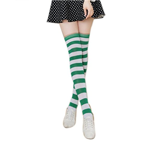 Tinksky Women Thigh High Over Knee Stocking Socks Green White Stripe Long Leg (Green And White Striped Leggings)