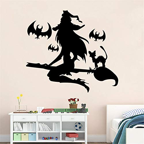 (mauned Vinly Art Decal Words Quotes Halloween Party Black Bats Witch Flying Decorative Decoration Eve of Halloween Home)