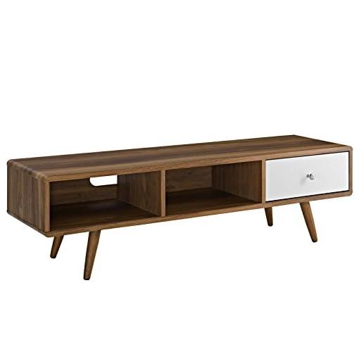 Living Room Modway Transmit, 55″ TV Stand, Walnut White modern tv stands