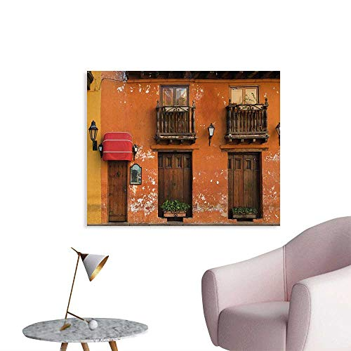 Tudouhoho America Wall Poster Cartagena Streets with Vibrant Color Building Facade Caribbean Landscape Columbia Mural Decoration Orange Brown W48 xL32