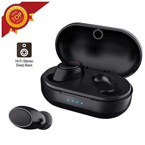 True Wireless Earbuds, TWS Waterproof 5.0 Bluetooth Headphones Earphones with Charging Case 15H Non-Stop Playtime Binaural HiFi Stereo Headset Microphone Pumping Bass Earpiece Noise Canceling