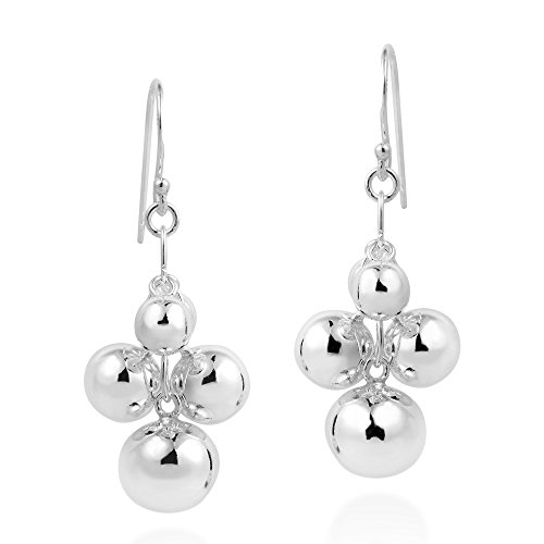 Modish Cluster Balls Drop .925 Sterling Silver Dangle Earrings