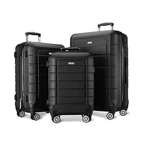 (SHOWKOO Luggage Sets Expandable PC+ABS Durable Suitcase Double Wheels TSA Lock Black 3pcs)