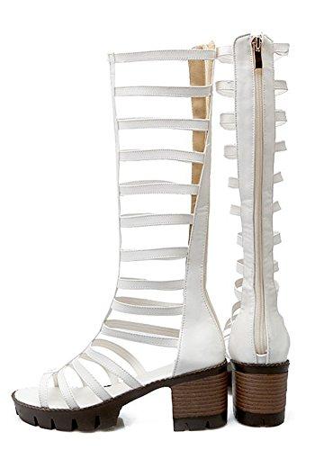 Aisun Femmes Unique Strappy Bout Ouvert Bloc Talons Moyens Gladiateur Zip Up Genou Hautes Bottes Sandales Chaussures Blanc