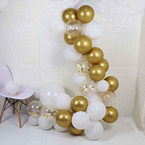 70 Packs DIY Balloon Garland Kit-83 Packs,Gold Metallic Chrome,Shiny White,Gold Confetti Latex Balloons into Arch for Wedding, Baby Shower, Graduation, Anniversary Party Decorations, Engagement