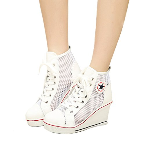 Jiye Damen Canvas High-Heels Fashion Sneaker Pumps Schuhe G-weiß