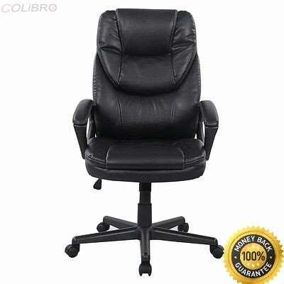 COLIBROX--Black PU Leather High Back Office Chair New Task Ergonomic Computer Desk Color: Black Weight: about 32 lbs Overall size:25.19'' x21.65'' x44.88''(At its highest height) Seat size:21.25'' x16.92 by COLIBROX