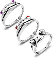 PANTIDE 3 Pcs Frog Open Rings Set for Women, Vintage Adjustable Alloy Animal Finger Rings, Cute Silver Frog wi