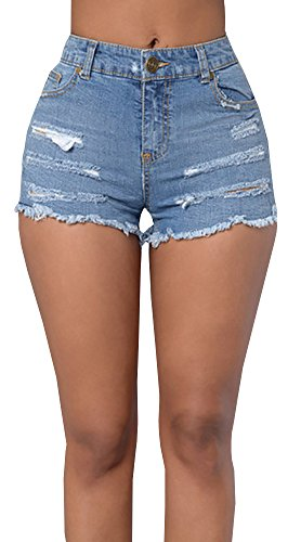 Baifern Women's High Waist Ripped Hole Wash Denim Shorts (Jean Shorts For Teens)