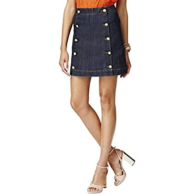 MICHAEL Michael Kors Womens Petites Denim Embellished Mini Skirt