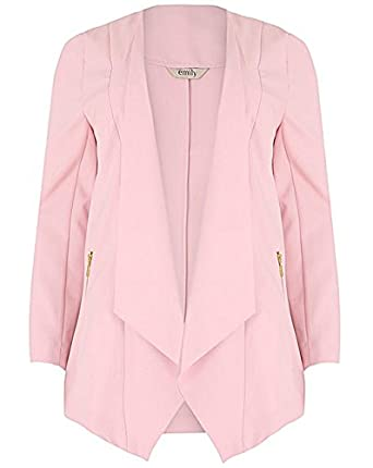 Ladies Plus Size Emily Light Pink Waterfall Zip Pocket Jacket ...