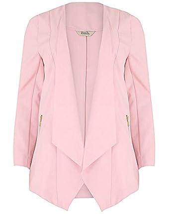 Ladies Plus Size Emily Light Pink Waterfall Zip Pocket Jacket ...