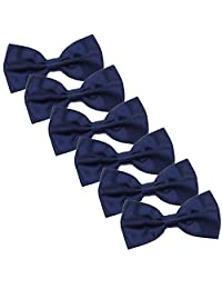 Men's Bow Tie for Wedding Party - 6 Pack of Solid Color Adjustable Pre Tied Bowties (Dark Navy Blue)
