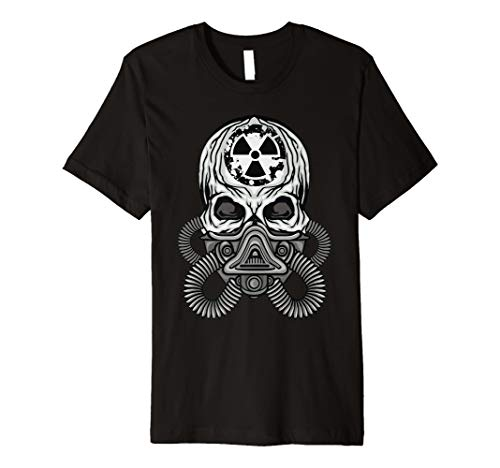 Skull in Gas Mask Bio-hazard Halloween Alien Graphic Tshirt -