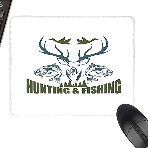 Hunting Decorcomputer Mouse padArtistic Emblem Moose Head Horns Trout Salmon Sea FishesBlack Cloth Mousepad 9.8