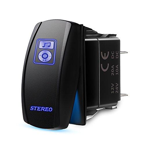 MICTUNING LS083601JL Laser Stereo Rocker Switch Kit, On/Off LED Light, 20A 12V, Blue - Utv Stereo