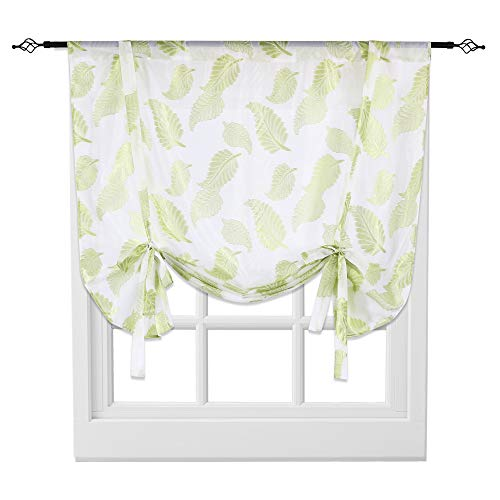 KEQIAOSUOCAI Tie Up Sheer Curtain Rod Pocket Roman Balloon Curtain Leaves Embroidery Semi Sheer Kitchen Balloon Window Curtain,1 Panel,52