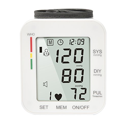 Digital Blood Pressure Monitor Cuff Wrist Meter Portable BP Machine with Pulse Heart Rate Detection Electronic Automatic LCD Display for Home Use Health Monitoring - Digital Monitor Rate Heart