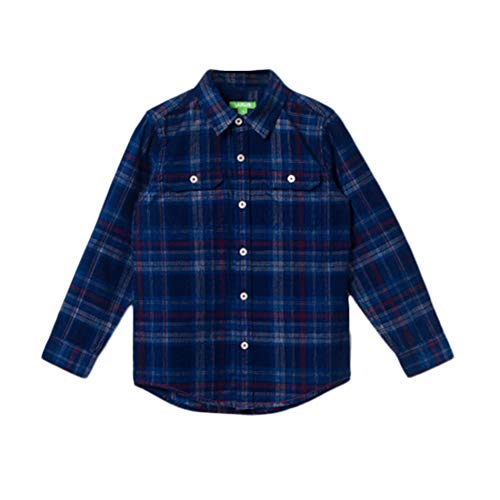 (bossini Chill Valentine's Day Boys Long Sleeve Plaid Flannel Shirt Check Shirt,Size 110,US Size 5/6 - Blue)
