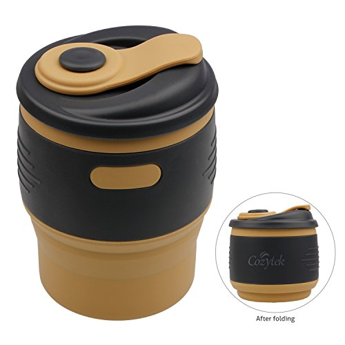 Travel Coffee Cup, Reusable Silicone Coffee Mugs to Go with Lid of Leak Proof Locked 12OZ for Hot & Cold Drinks, Camping Hiking Traveling BPA Free,FDA Approved-Yellow
