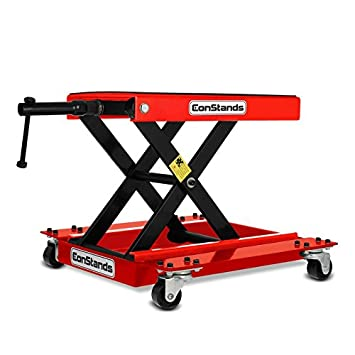 red ConStands Dolly Mover for Kawasaki J300 for Centre Stand Mover II max 320 kg