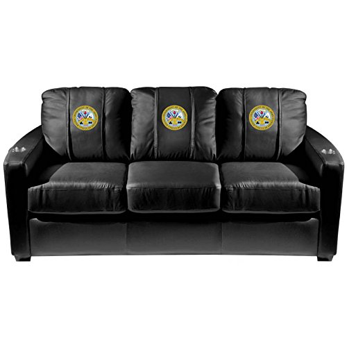 XZipit Armed Forces Silver Sofa with Army Insignia Logo Panel, Black