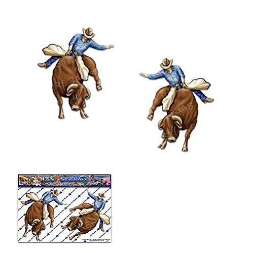 (2 x BULL RIDER Small RODEO Cowboy Country Animal Pack Vinyl Window Bumper Car Sticker Decal Caravan Bike Truck Laptop-ST00003_1)