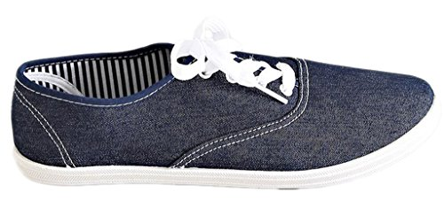 Charles Albert Women's Canvas Lace Up Tennis Athletic Sneaker in Denim Size: (Denim Canvas Footwear)