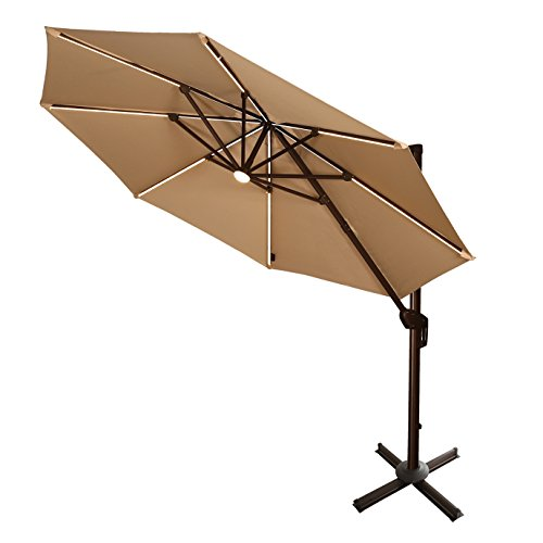 Ulax Furniture 360° Rotation 11 Ft Deluxe Solar Powered LED Lights Outdoor Offset Hanging Market Umbrella, Cantilever Patio Umbrella, 7 different tilt positions, Cross Base Included, Beige (Led Outdoor Furniture)