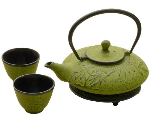 Japanese Tetsubin Bamboo Design 4 PC Cast Iron Tea Set Including Cast Iron Teapot 24 Ounce with Infuser 2 Enameled Cast Iron Tea Cups and Round Trivet (Green)