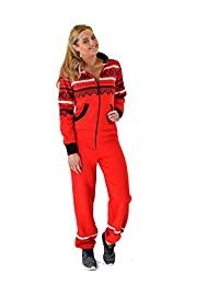Womens Ladies Aztec Printed Thick Warm Fleece Zipper All In One Piece Cuffed Suit
