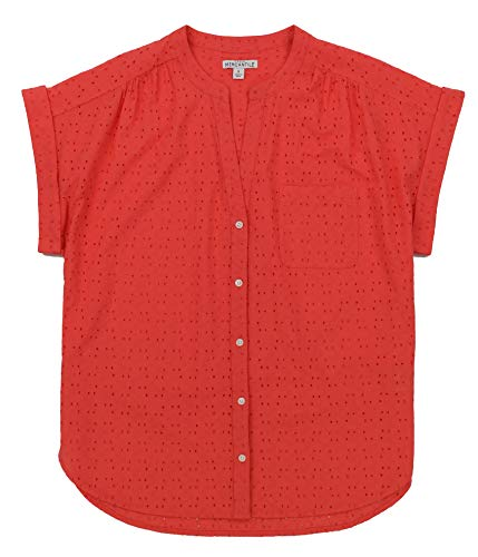 J. Crew Women's Short Sleeved Eyelet Button Down Shirt (Large, Coral)
