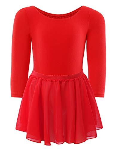 WEGETIT Gymnastics Leotards for Girls Toddler Ballet Red Long Sleeve Dance Tutu (Red, 4-6 Years)