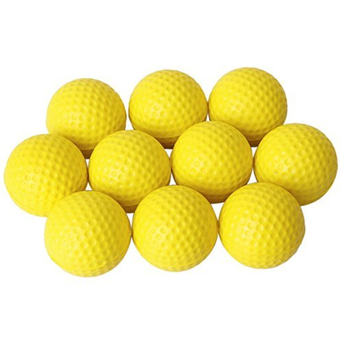 VORCOOL  10pcs Soft Elastic Indoor Practice PU Golf Balls Training (Yellow)