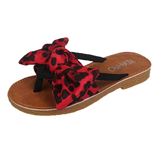 Womens Slides, Bow Sandals with Arch Support Comfortable Beach Slippers for Summer Leopard Print Beach Shoes Red