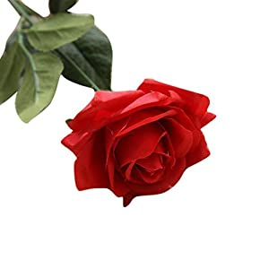 Artificial Flowers, BCDshop 1PC Silk Roses Fake Flower for Bouquet Arrangements Home Garden Party Wedding Office Decoration (Red) 3
