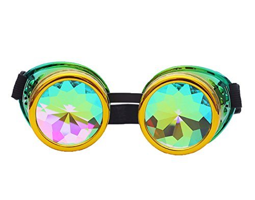 Lelinta Radioactive Goggles Steampunk Bling Bling Rainbow Crystal Lenses Halloween Party -