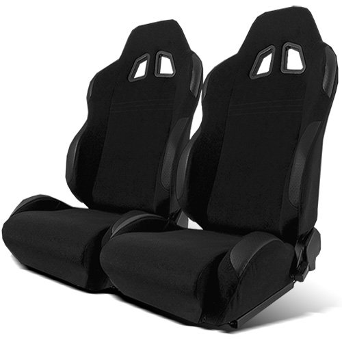 Modifystreet 1 Pai Type R Style Reclinable Cloth Sport Racing Bucket Seats - Black (Sliders...