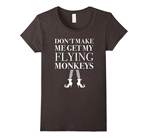 [Women's Dont Make Me Get My Flying Monkeys T-Shirt Witch Magic Medium Asphalt] (Make Monkey Magic Costume)