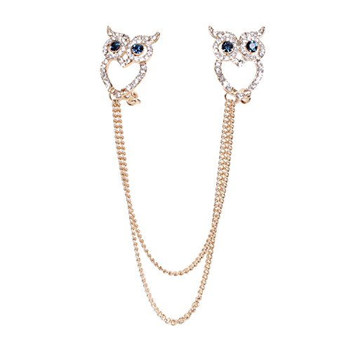 Cute Animal Brooches Gold-tone Clear Crystal Novelty Owl Link Girl Women Bouquet Party Art Collar Pins