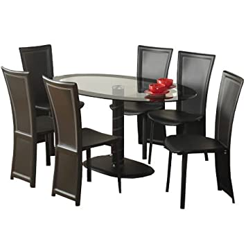 WorldStores Cameo Black  Glass Oval Dining Table   Chairs Set