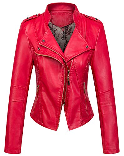 Cropped Double Zip Jacket - chouyatou Women's Candy Color Asymmetric Zip Slim Faux Leather Cropped Moto Jacket (Small, Red)