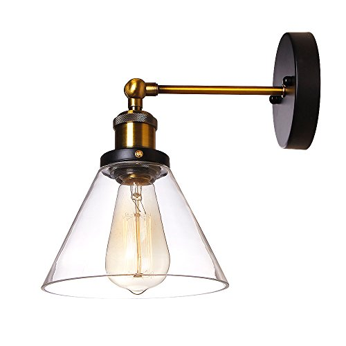 Anmytek Clear Glass Shade Wall Light Fixture Industrial one light Wall Lamp Edison Vintage Pipe Wall Sconce Decorative Fixtures Lighting Luminaire for Cafe and Kitchen (Cone)
